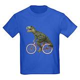 Dinosaur bicycle Kids T-shirts (Dark)
