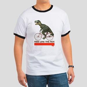 Tyrannosaurus Rex Cyclist Ringer T