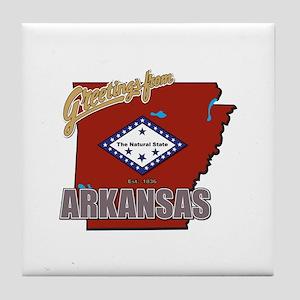 Greetings From Arkansas Tile Coaster