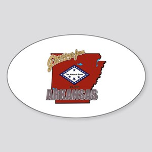 Greetings From Arkansas Sticker (Oval)