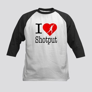 I Love Shotput Kids Baseball Jersey