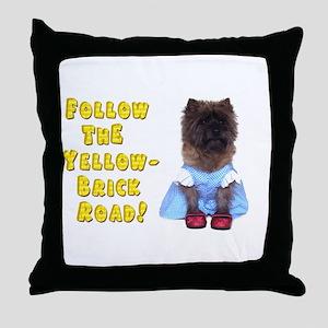 Cairn Terrier Oz Yellow Brick Road Throw Pillow