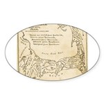Old Cape Cod Map Sticker (Oval 10 pk)