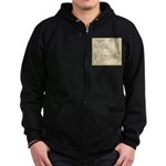 Old Cape Cod Map Zip Hoodie (dark)