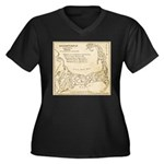Old Cape Cod Map Women's Plus Size V-Neck Dark T-S