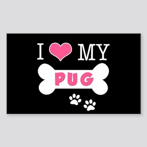 I Love My Pug Sticker (Rectangle)