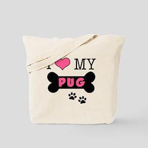 I Love My Pug Tote Bag