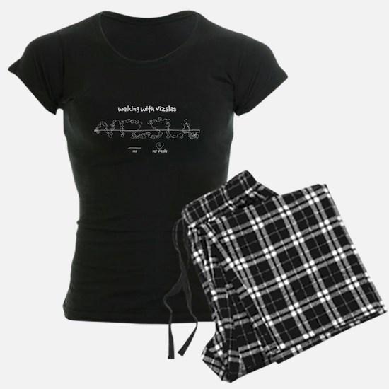 Women's Vizsla Dark Pajamas (white walkies)