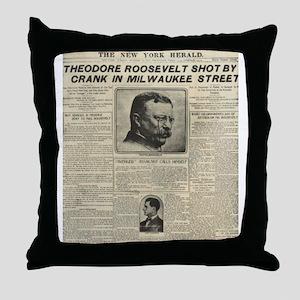 Theodore Roosevelt Shot! Throw Pillow