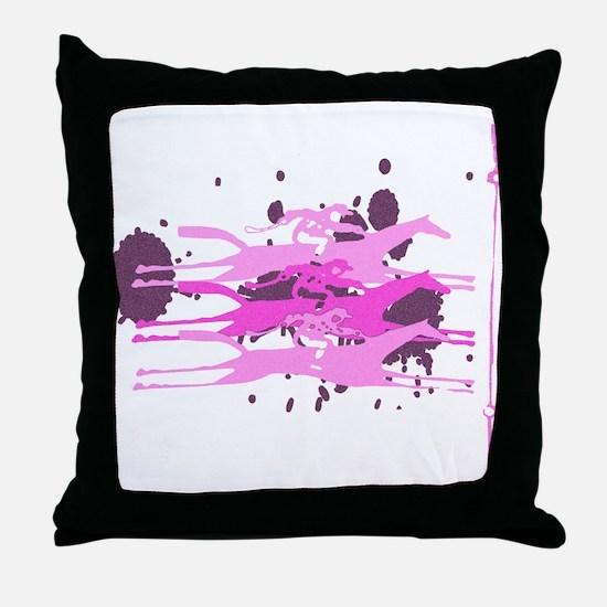 Horse Racing in Pink Throw Pillow