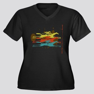 Horse racing Party Women's Plus Size V-Neck Dark T