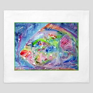 Fish! Tropical fish art! King Duvet