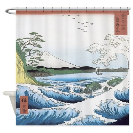 Japanese Seascape Shower Curtain By Ethnocentric