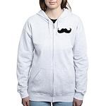 Black Moustache Women's Zip Hoodie
