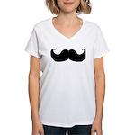 Black Moustache Women's V-Neck T-Shirt