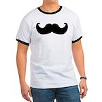 Black Moustache Ringer T