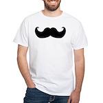 Black Moustache White T-Shirt