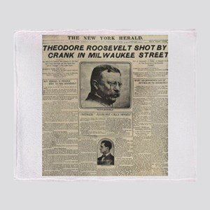 Theodore Roosevelt Shot! Throw Blanket