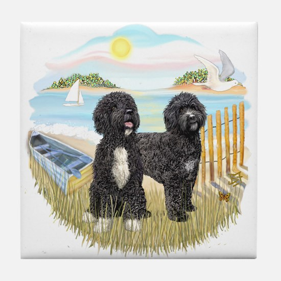 Row Boat-2 PWDs Tile Coaster