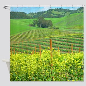 Mustard Bloom, Vineyard Hills Shower Curtain