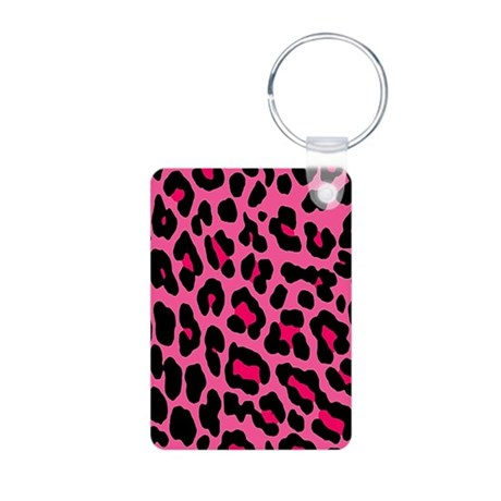 HOT PINK LEOPARD Aluminum Photo Keychain