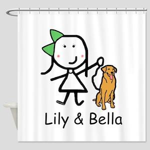 Girl & Dog - Lily & Bella Shower Curtain