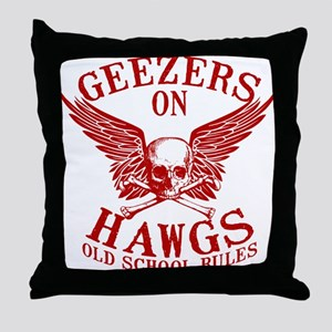 Geezers on Hawgs Throw Pillow