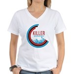 Killer Infographics Rounded Logo Women's V-Neck T-