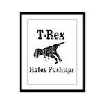 Vintage T-Rex hates Pushups Framed Panel Print