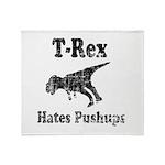 Vintage T-Rex hates Pushups Throw Blanket