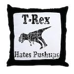 Vintage T-Rex hates Pushups Throw Pillow