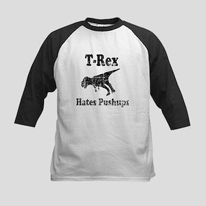 Vintage T-Rex hates Pushups Kids Baseball Jersey