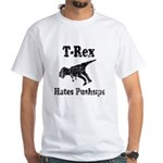 Vintage T-Rex hates Pushups White T-Shirt