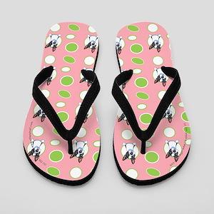 Peeking Boston Terrier Pink Flip Flops