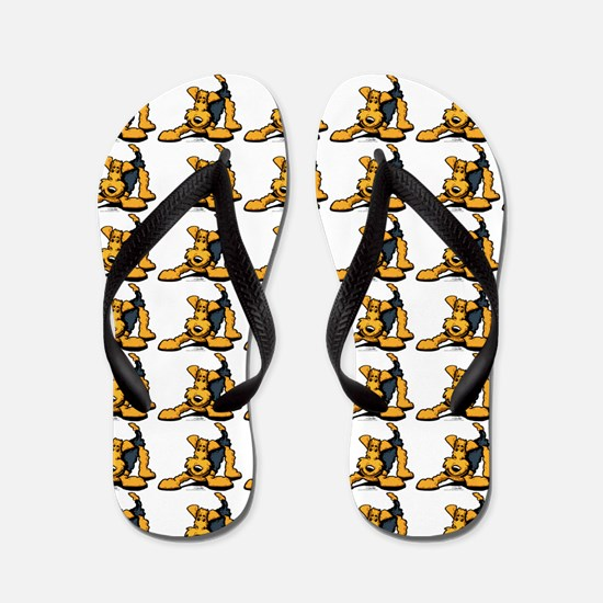 Funny Airedale Cartoon Flip Flops