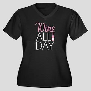 Wine All Day Women's Plus Size V-Neck Dark T-Shirt