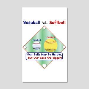 Baseball vs. Softball 22x14 Wall Peel