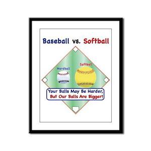 Baseball vs. Softball Framed Panel Print