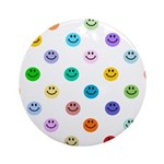 Rainbow Smiley Pattern Ornament (Round)