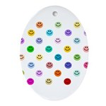 Rainbow Smiley Pattern Ornament (Oval)
