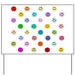 Rainbow Smiley Pattern Yard Sign