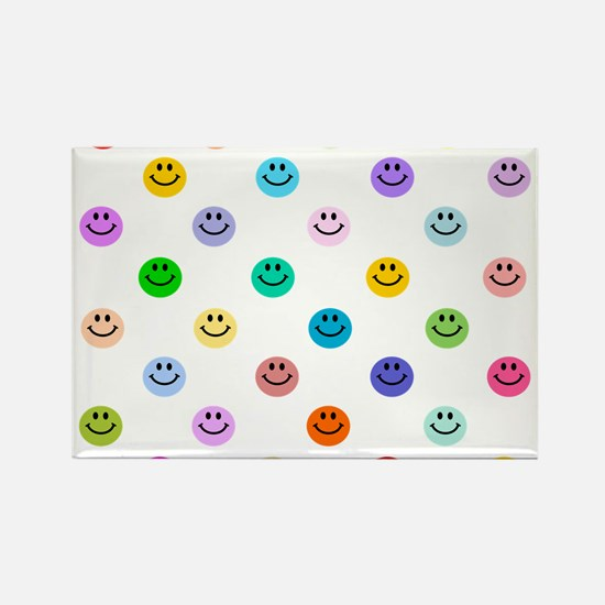 Rainbow Smiley Pattern Rectangle Magnet