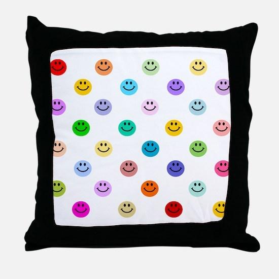 Rainbow Smiley Pattern Throw Pillow
