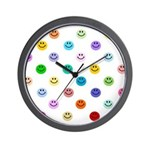 Rainbow Smiley Pattern Wall Clock