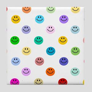 Rainbow Smiley Pattern Tile Coaster