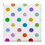 Rainbow Smiley Pattern Tile Coaster