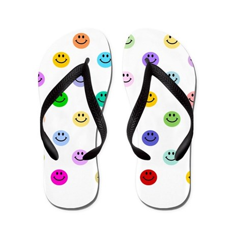 Rainbow Smiley Pattern Flip Flops