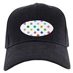 Rainbow Smiley Pattern Black Cap