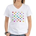 Rainbow Smiley Pattern Women's V-Neck T-Shirt