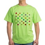 Rainbow Smiley Pattern Green T-Shirt